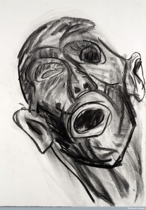 L0025917 Charcoal drawing: head from dissection