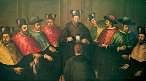 Antonio Martínez Anaya: Imposición del birrete a un nuevo Doctor. (Reproduction of a lost painting from the mid-17th century, oil on canvas, residing at the Universidad Complutense de Madrid)