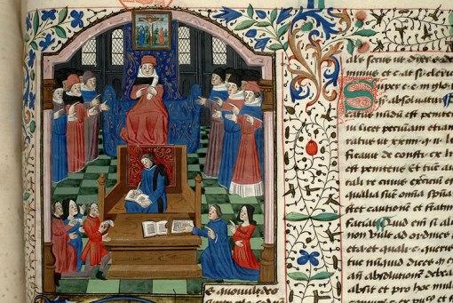 """""""Legal Dispute"""", Distinctiones in Decretales Gregorii IX, c. 1470-1480, Paris - Bibl. Mazarine - ms. 1331, 121, © Institut de recherche et d'histoire des textes - CNRS."""