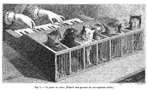 """Cat-piano"" from La Nature (1883). Courtesy of the The Bibliothèque centrale du Conservatoire national des arts et métiers"