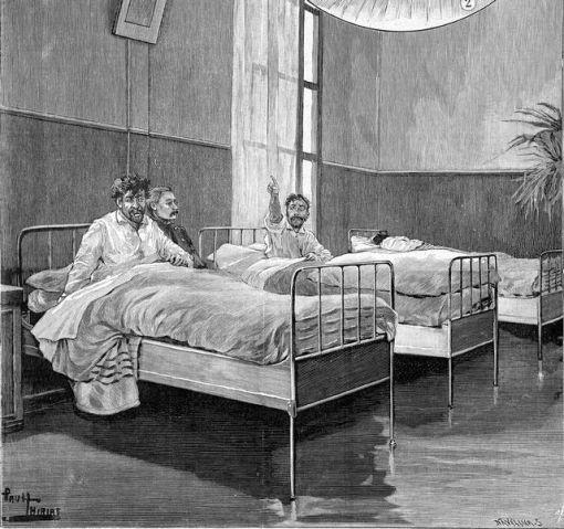 1898 Hospice de Sainte Anne à Paris en 1898 Le dortoir des agités par PThiriat Roger-Viollet AFP