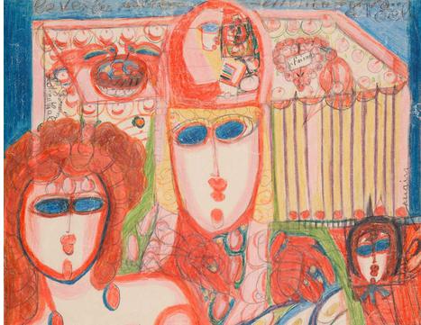 Aloïse Corbaz, Dans le Manteau Impérial de Marie Stuart Médicis (Ausschnitt), 1946, Farb- und Bleistift auf Papier, 58 x 45 cm, © Fondation Aloïse, Chigny, Foto: Collection de l'Art Brut