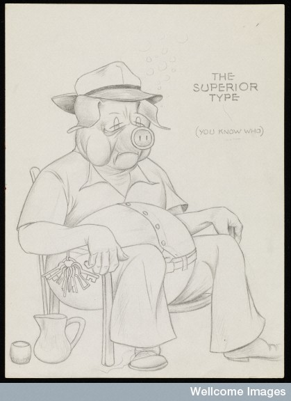"Drawing of staff member represented as a pig Credit: Wellcome Library, London. Wellcome Images images@wellcome.ac.uk http://wellcomeimages.org Patton State Hospital, San Bernardino, California: a staff member represented as a pig, asleep in a chair. Drawing by D.R. Wilder, ca. 1954. Wilder, Dudley Raymond, 1916-1957.  ""The superior type (you know who)"" One drawing of twelve in a sketchbook inscribed ""Dudley R. Wilder"". There is a record of a Dudley Raymond Wilder (1916-1957) who worked as a commercial artist in California from the 1930s to the 1950s and served as a staff sergeant in the US Marine Corps in 1943-1944. The quality of the drawings, and some of the military references, suggest they could well be by him, possibly in the last years of his life where confinement preceded an early death at the age of 41. Pencil drawing 1954 By: Dudley Raymond WilderPublished: [1954?] Copyrighted work available under Creative Commons by-nc-nd 4.0, see http://wellcomeimages.org/indexplus/page/Prices.html"