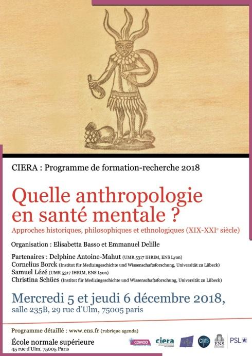 Delille_Affiche_Colloque_CIERA_Anthropologie santé mentale_2018